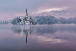 Lake Bled with church on the island