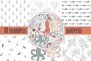 Cute Sea Life Patterns Set