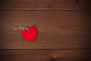 wooden background with heart