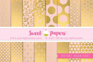 Pink and Gold Digital Paper PG01