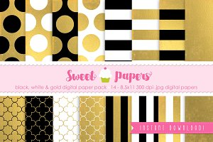 Gold Black White Digital Paper GFB01