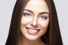 Woman smile. Teeth whitening