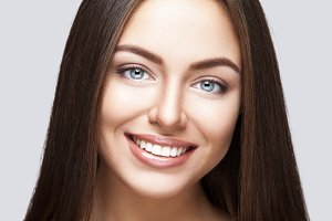 Woman smile. Teeth whitening