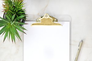 Gold Clipboard & Pens Mockup