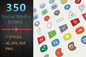 350 SOCIAL MEDIA PRO ICONS