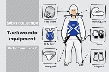 Set of taekwondo equipment