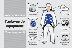 Set of taekwondo equipment