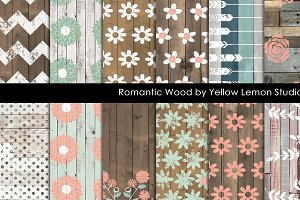 Wooden background with floral print