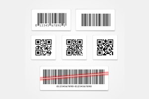Barcode Tag or Sticker Set. Vector