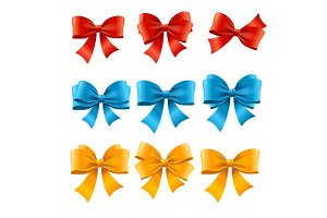 Satin Colorful Bow Set. Vector