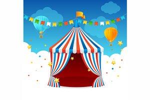 Circus Tent Card. Vector