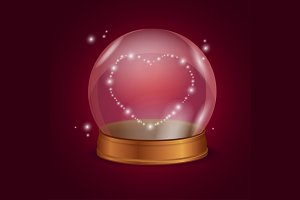 Empty Crystal Ball Valentine Heart.