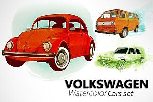 Volkswagen watercolor cars set.