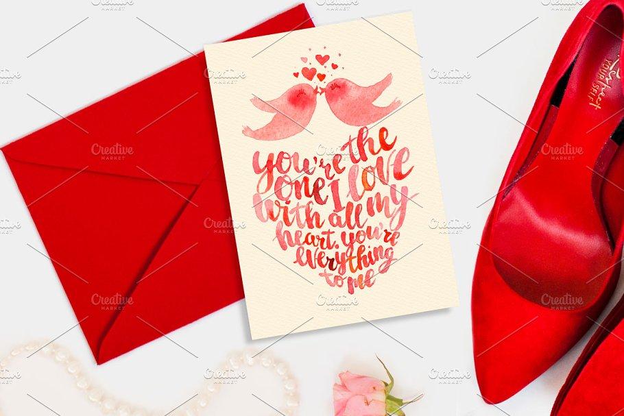 Valentine's day card kissing birds
