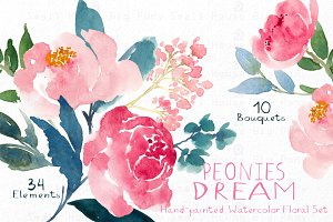Peonies Dream - Watercolor Floral Se