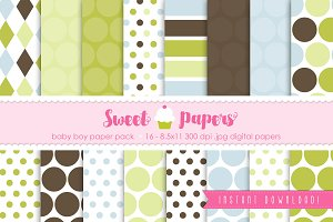 Baby Boy Digital Paper SPBB01