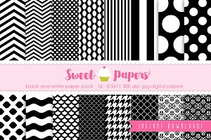 Black and White Digital Paper SPBW01