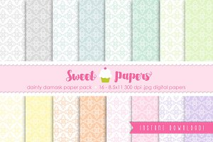 Pastel Damask Digital Paper SPDD01