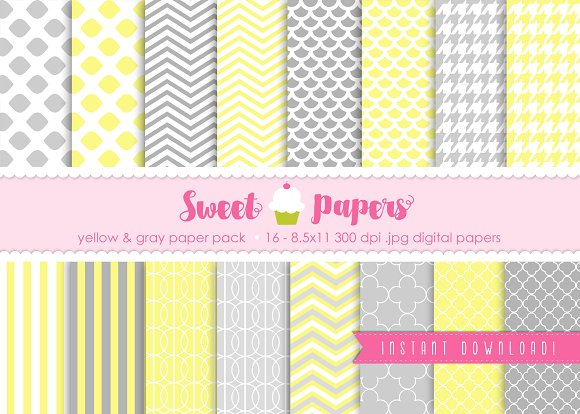 Yellow and Gray Digital Paper SPYG01