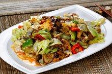 Freshly cooked veggies in sauce