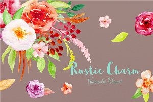Watercolor Clipart Rustic Charm