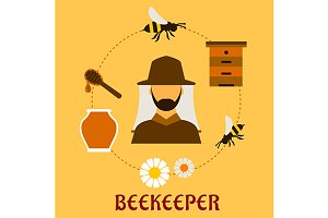 Beekeeping concept with beekeeping a