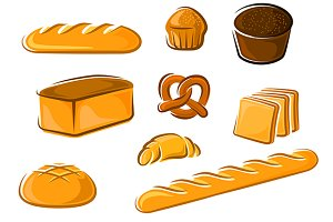 Cartoon bakery and pastry products