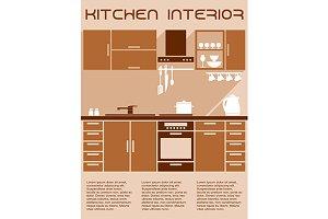 Brown and beige kitchen interior des