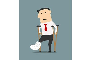 Businessman with broken leg and crut