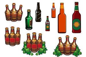 Cartoon glass beer bottles