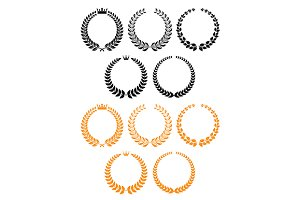 Golden and black laurel wreaths with