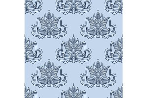 Stylized blue indian lotus seamless