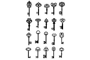 Vintage keys with intricate bits and