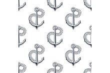 Retro ship anchors seamless pattern