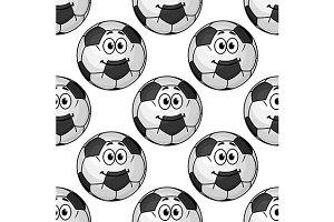 Cartoon cute soccer ball characters