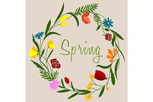 Spring flowers wreath for seasonal d