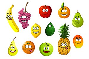 Happy smiling cartoon fruits