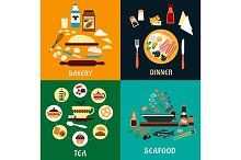 Set of flat food infographics