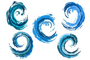 Blue rounded sea waves set