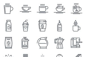 Coffee icon set suitable for info gr