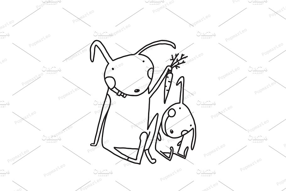 Rabbits Mom And Child Eating Carrot Illustrations Creative Market