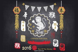 Chalkboard New Year Of The Monkey