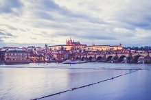 Evening view of old Prague castle