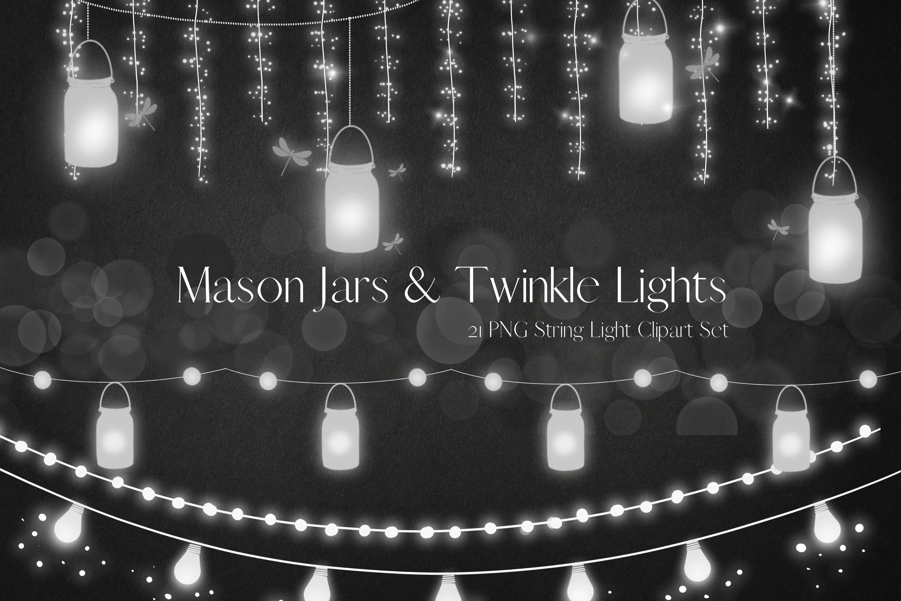 White Mason Jars String Lights Creative Market