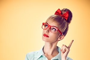 Beauty fashion nerdy woman thinking,
