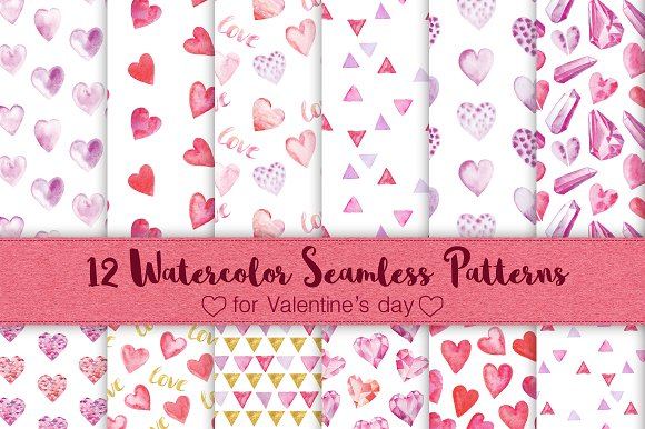 12 Watercolor Valentines Patterns