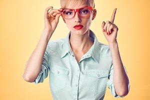 Beauty fashion nerdy woman thinking,