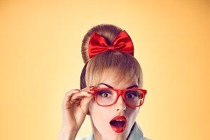 Beauty fashion nerdy woman surprised