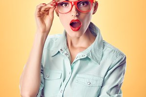 Beauty fashion nerdy woman surprised