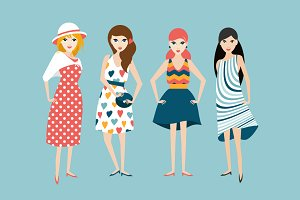 Group of 4 fashion friends woman.